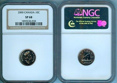 2000 Canada 10 Cents Ngc Sp-68 Second Finest Graded