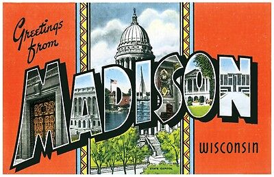 Greetings from MADISON WISCONSIN Souvenir Travel Fridge Locker Toolbox Magnet