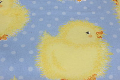 Chicks Cotton Flannel Fabric 2 2/3 Yd Blue W Yellow Baby Birds Sewing Material