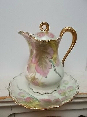 Limoges Flambeau, hand painted & signed, covered pitcher & underplate