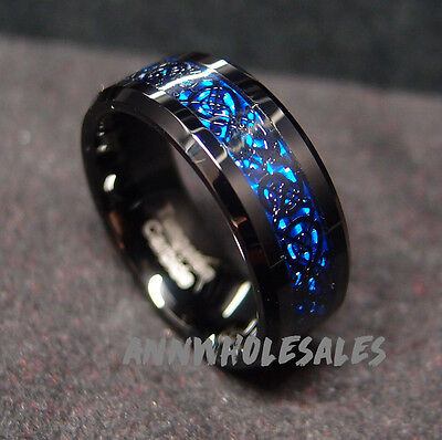 8mm real Tungsten Carbide Ring Black Celtic Dragon Blue carbon fibre Men Jewelry