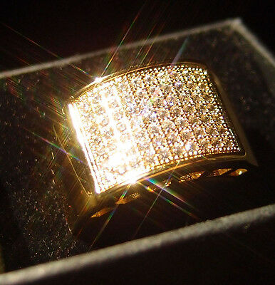 High Quality Micropave 14K Yellow Gold Filled Glint Crystal Men Ring R15 9#-12#