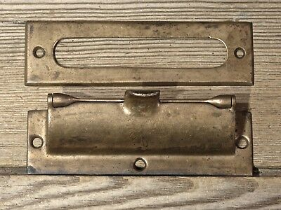 old Letter Slot interior trim vintage dark brass flip cover lid Springville NY