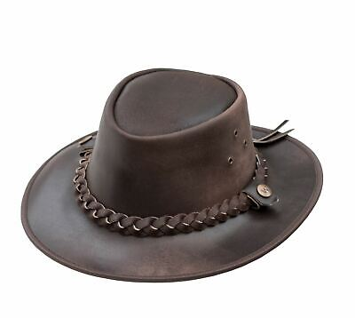 OUTBACK Soft Brown Aussie Bush Hat - Leather Hat by Wombat Leather Cowboy New