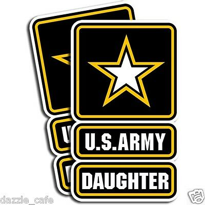 US Army DAUGHTER Sticker Family Military Die Cut Decal 3in x 5in Set of 2