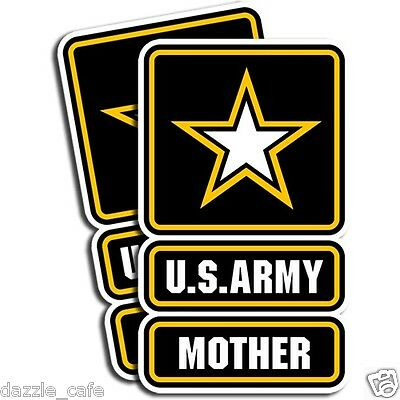 US Army MOTHER Stickers Mom Military Die Cut Decals - 2 Pack 5in tall 3in wide