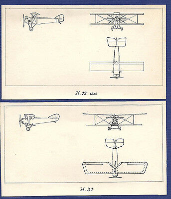 SET 2 vtg HAND SKETCH Military Aircraft HANRIOT H.19+ H.31 France WWI war 1920s
