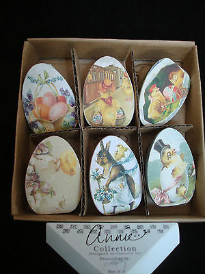 PrimitiveEaster Egg Ornaments w Vintage Style Bunny Chick Graphics 6pc NEW 13517