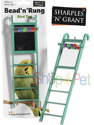 Bird Toy Ladder Mirror For Cage With Beads Budgie Parakeet Cockatiel Pet