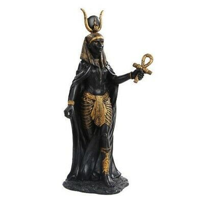 Ancient Egyptian Legend Statuary Goddess Hathor with Ankh Figurine Black & Gold