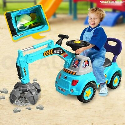 Kids Pretend Play Excavator Power Worker Digger Grab Truck Ride On Car Toys Blue