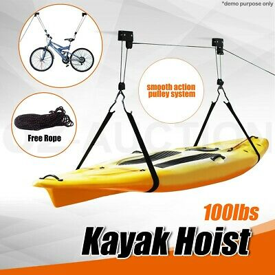 Kayak Hoist Bike Lift Pulley System Ceiling Hook Garage Storage Rack Free Rope