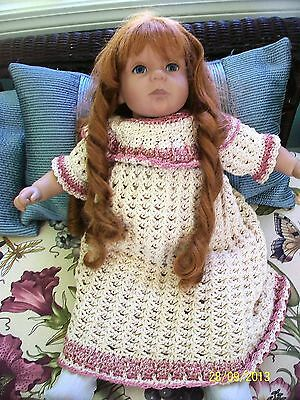 """Red Hair Pipe Curls Pat Secrist Life Like Doll  """"Pouty"""" 1994  Hand Crochet Dress"""