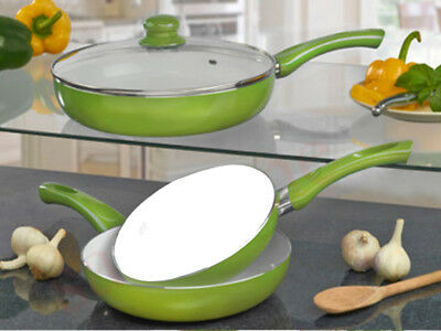 Fusion Lime 5Pc Ceramic Coated Frying Pan Set White Non Stick Pyrex Glass Lid