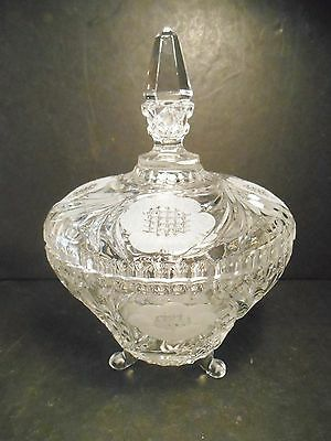 Crystal Candy Bowl w/ Cover Pressed & Cut 3 Footed Flower Pattern Bowl Unknown