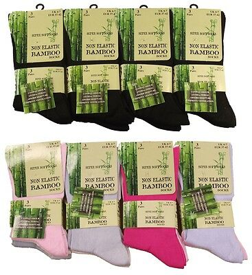 6 Pairs Of Ladies Bamboo Loose Top Socks, Super Soft Anti Bacterial Socks