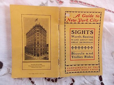 RARE 1900 Brooklyn Eagle Bicycle Trolley 58-Page Guidebook NYC Subway Maps