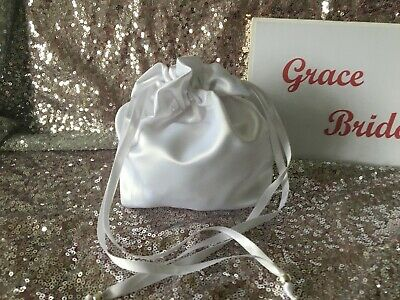WHITE DUCHESS SATIN DOLLY BAG BRIDAL B/maid FLOWER GIRL BNIP **free samples**