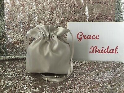 SILVER DUCHESS SATIN DOLLY BAG BRIDAL B/maids FLOWER GIRL BNIP **free samples**