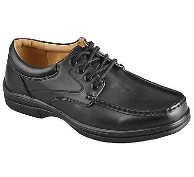 Mens Black Casual Leisure Lace Up Wide Fitting Shoes Size UK 6.5 - 10.5