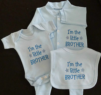I'm The Little Brother Baby Set Grow Vest Bib Blue White Boy Cute Funny Gift