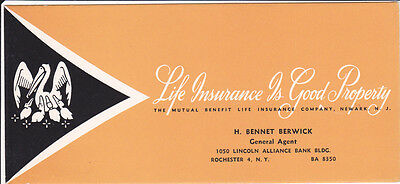 Advertising Blotter MUTUAL BENEFIT LIFE INSURANCE Pelican w chicks Rochester NY