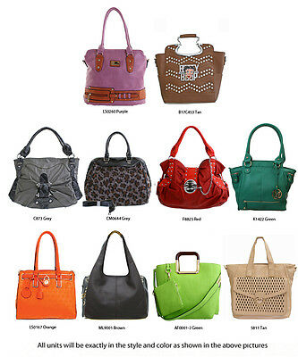 Wholesale 10 Women Multi-Color Fashion Patchwork Handbag Purses - New with Tags