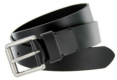 """Mens Genuine One Piece Leather Casual Rugged Fashion Belt 1.5"""" Wide Smooth Black"""