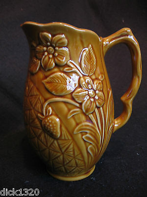 """VINTAGE STAFFORDSHIRE TREACLE GLAZE RELIEF MOULDED 7"""" 'DAFFODIL' JUG c.50's EX"""