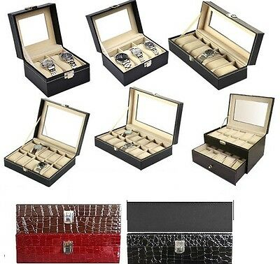 Faux Leather Watch Case Organiser Bracelet Storage Display Box Pillows Glass Top