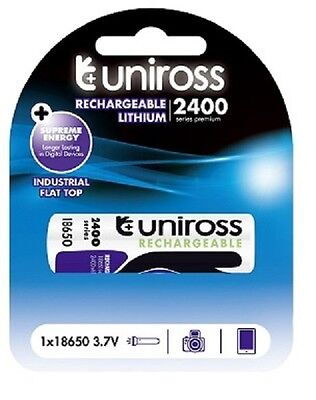 1 x 18650 Rechargeable Battery by UNiROSS 2400 mAh FLAT TOP