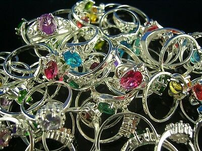 HOT!! wholesale 10pcs 925 Sterling Silver Mixed CZ Rings 6-8