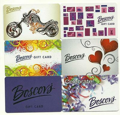 Lot of (6) Boscov's Gift Cards No $ Value Collectible New Motorcycle Hearts