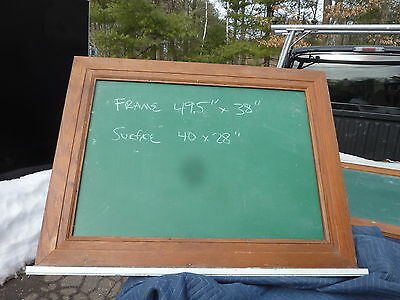 "early 20th century schoolhouse SLATE chalkboard FRAMED OAK molding 49.5"" x 38"""