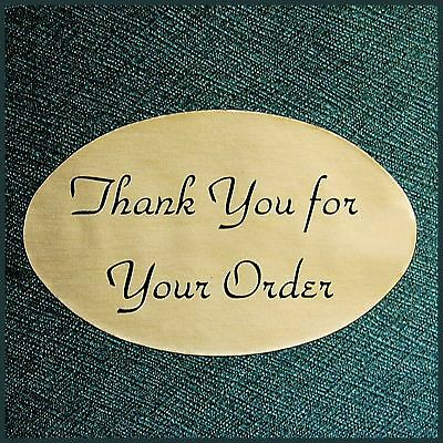 "1.25 x 2"" GOLD OVAL THANK YOU STICKERS LABELS Lot/100! USA MADE QUALITY!"