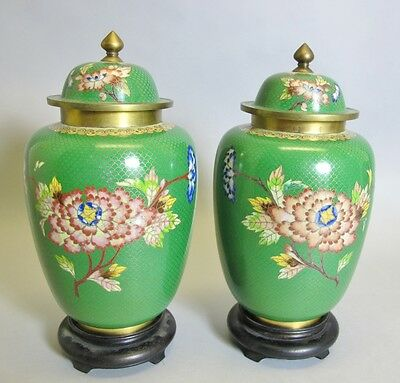"Superb Pair of 10"" Antique Chinese ""High"" Cloisonne Vases  c. 1920s  Ginger Jar"