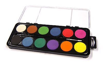 12 Disc Watercolour Paint Blocks Childrens Painting Palette Case & Brush Set