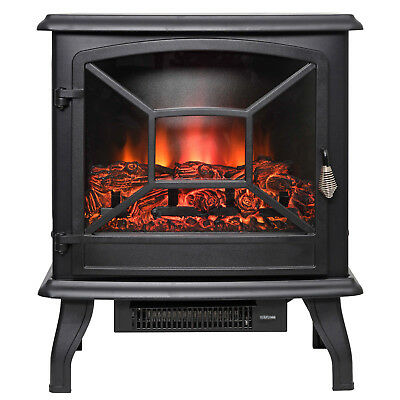 Free Standing 3D Flame Heater Log Electric Fireplace Firebox With Remote Control