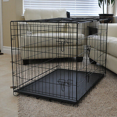 """New Foldable Wire Black 42"""" 2 Door Dog Cage Crate Kennel with ABS Tray"""