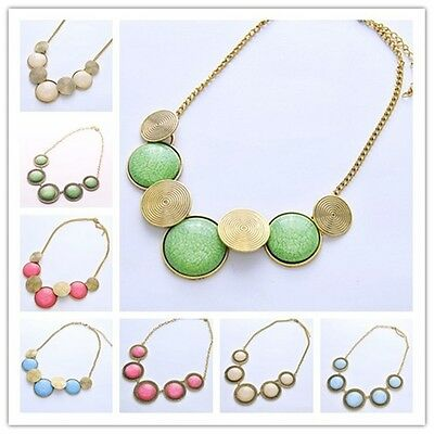 Hot Selling New Fashion Light color Bib Oval Necklace Retro 2 Style  Jewelry