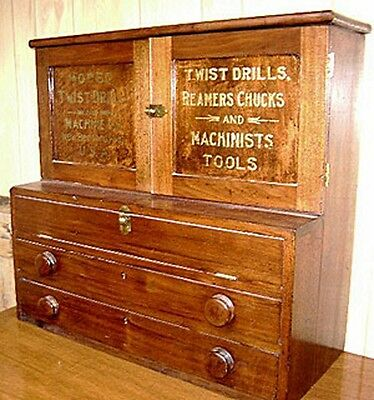 Antique Cleveland Twist Drill Cabinet - Must See!