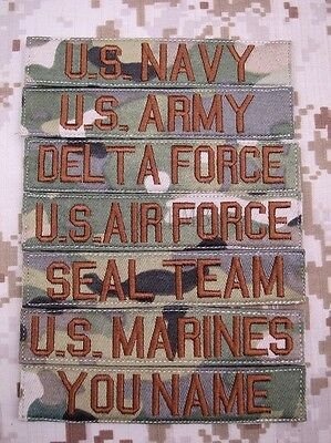 Multicam Chest Tapes Custom name Tapes ARMY SEAL NAVY  Embroidery  Patch
