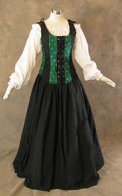 Green Renaissance Bodice Skirt Chemise Medieval Pirate Gown Dress LARP L