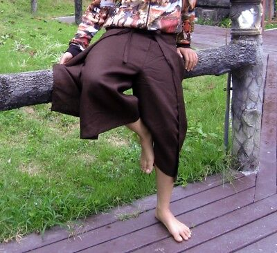 Drive In Wrap Around Pants in Thick Polish Linen Fabric - Bistre Brown