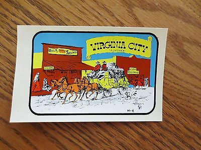1950s Virginia City Montana MT Tourist Auto Window Sticker Decal Bale Saloon