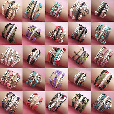 Jewelry fashion Leather Cute Infinity Charm Bracelet Silver lots Style pick NEW