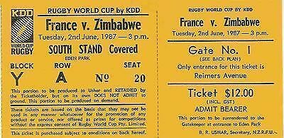 FRANCE v ZIMBABWE RUGBY WORLD CUP 1987 TICKET in NEW ZEALAND