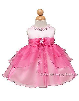 New Baby Girls sz 0-6m 12m 18m 24m Pink Dress Flower Birthday Easter Pageant USA