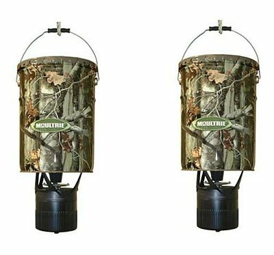 2 MOULTRIE MFH-EP 6.5 Gallon Econo Plus Hanging Deer Feeders w/ Photocell Timer