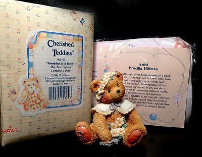 "MIB Enesco Cherished Teddies MAY, ""Friendship Is In The Bloom"", May with Paperwo"